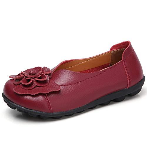 Gaatpot Mujer Mocasines de Cuero Vintage Flores Loafers Casual Respirable de Deslizamiento Zapatos de Conducción Zapatillas Vino Rojo 38 EU = 39 CN