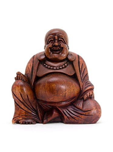 Happy Buddha Laughing Buddha Wood Carved Statue for Luck and Prosperity - OMA Brand