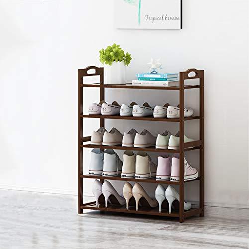 VOCD Bamboe 4-dieren schoenenrek Storage Organizer entrek schoenenrek Home rek kast voor schoenen boeken en bloempotten Natural Brown