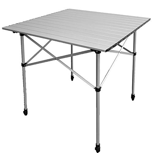 Skandika aluminium Campingtafel - 4 personen - Inklapbaar - Hoogte Verstelbaar - Draagtas - (70 x 70 x 70/85 cm) - Grijs