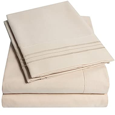 1500 Supreme Collection Bed Sheets - 4 Piece Bed Sheet Set Deep Pocket LOWEST PRICE, SINCE 2012 - Wrinkle Free Hypoallergenic Bedding, 23 Colors - King, Beige