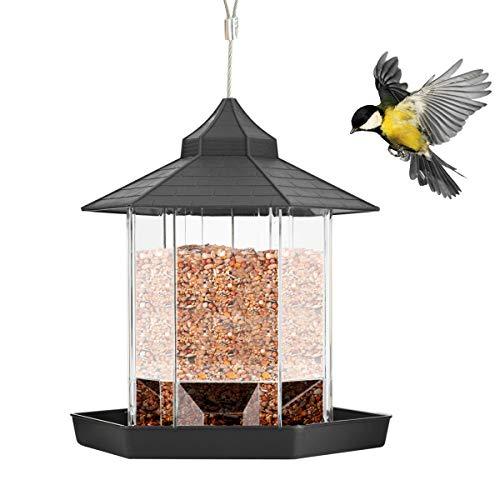 SANON Vogelfutterspender, Vogelhäuschen zum Hängen mit Wetterfest Dach Grosse Kapazität Parrot Futterautomat für Außen Wilde Vögel (Wild Bird Feeder)