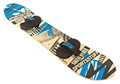 Size 130cm for riders 80-150lbs Perfect for beginners this snowboard will enter you into the world of cruising' The slopes Durable hardwood construction for long lasting repetitive use Easy adjusting hook and loop binding allows for them to be adjust...