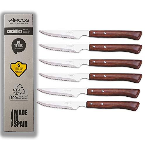 Arcos | cuchillos chuleteros arcos | cuchillo arcos madera | arcos cuchillo chuletero | 6 Piezas | juego cuchillos carne | cuchillos mango madera | Envase Eco | Fabricado en España