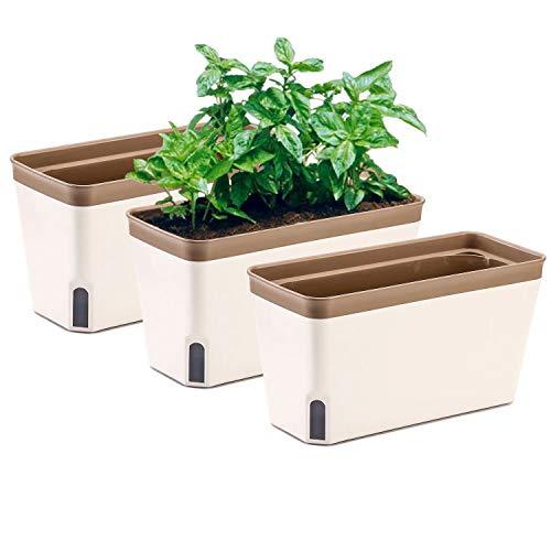 Vaso per fioriera per davanzale, set di 3, giardino interno rettangolare autoirrigante per cucine, coltivazione di piante, fiori o piante grasse, grande serbatoio d'acqua
