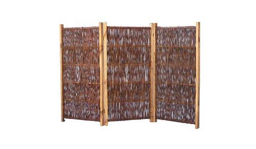 Mobiler Paravent für Garten im Maß 180 x 120 cm ( Breite x Höhe ) - dreiteilig mit einer Flügelbreite von ca 60 cm - aus geölten und geflochtenen Weidenruten auf einem gebeizten Kiefernholzrahmen