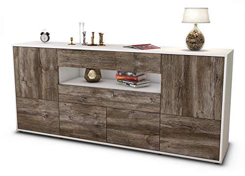 Stil.Zeit Sideboard Emely/Korpus Weiss matt/Front Holz-Design Treibholz (180x79x35cm) Push-to-Open Technik & Leichtlaufschienen