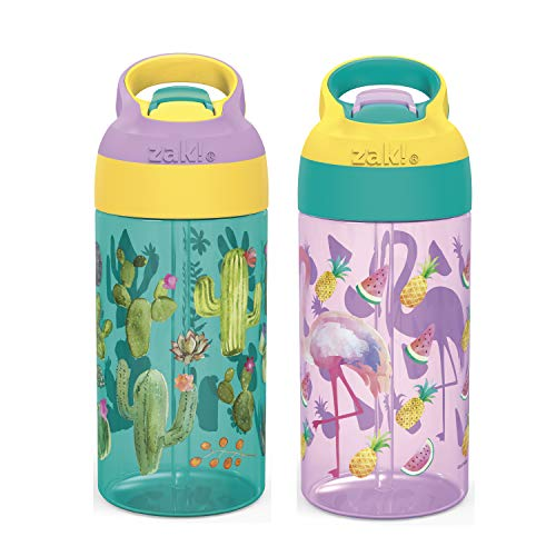 Zak Designs 16oz Riverside Desert Life Kids Water Bottle with Straw and Built in Carrying Loop Made of Durable Plastic, Leak-Proof Design for Travel, 2PK Set, Cactus-Flamingo Pineapple