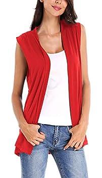 Women s Sleeveless Cardigan Open Front Vest Lightweight Cool Coat  XL Red