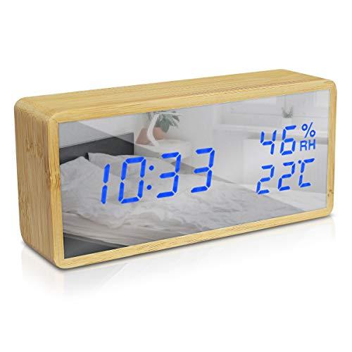 Navaris Bambus Digitalwecker - Luftfeuchtigkeit Temperatur Anzeige - Dimmer - 3 Alarmfunktionen - Spiegel Display - Digitaluhr Wecker Hellbraun-Blau