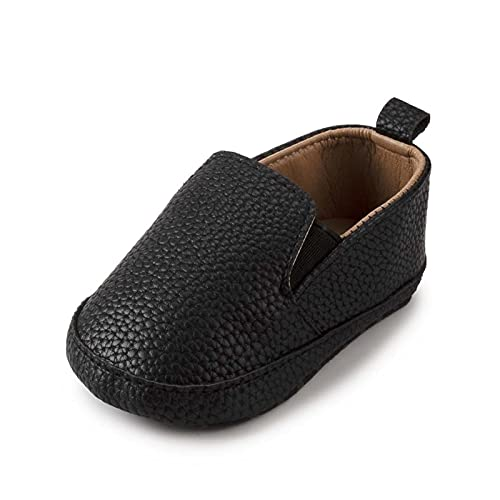 FURONGWANG6777BB Baby Boys Girls Casual Soft-Sole Antideslizante PU Zapatos de algodón de Cuero Infantil Primeros Caminantes Zapatos de Cuna (Color : Black, Size : 6-12 Months)