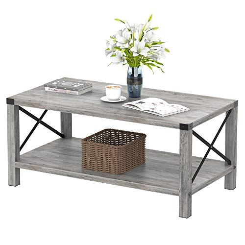 IDEALHOUSE Rustic Coffee Table,Farmhouse Accent Cocktail Table Storage Shelf, Industrial Wood Look Tea Table, Sofa Center Table for Living Room,TV Stand Side End Table with X Metal Frame