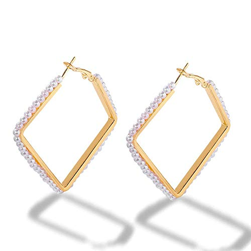 OUHUI Pendientes de Perlas Imitadas Hechas a Mano Pendientes de Aro para Mujeres Pendientes de Círculo en Forma de C Decoraciones/G