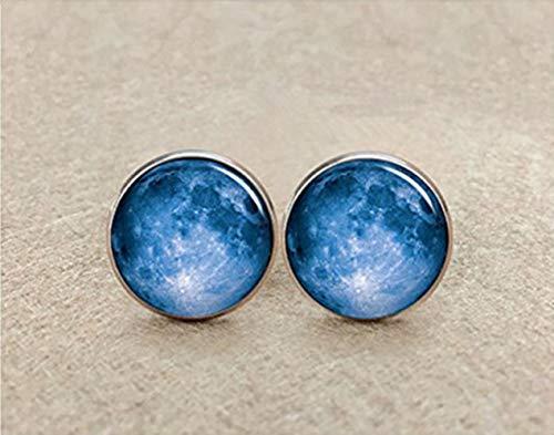 Chen jian xin Galaxy Boutons de Manchette, Pleine Lune Boutons de Manchette, Bleu Galaxy Boutons de Manchette, Cadeau Unique