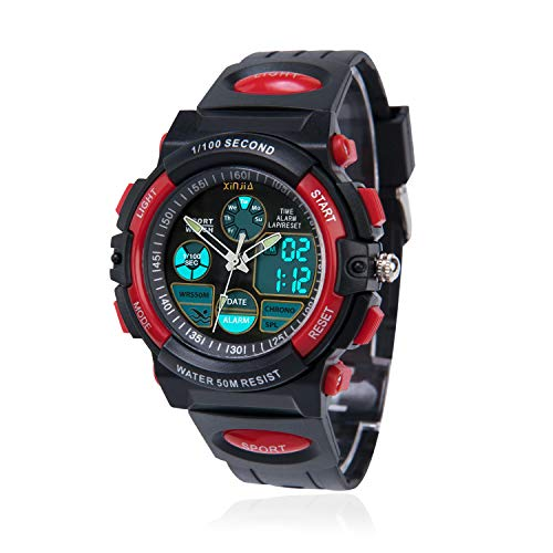 Kinderuhr für Jungen,Digital Analog Armbanduhr 50M wasserdichte Sportuhr im Freien mit Alarm/Stoppuhr/LED-Licht für Jugendliche(Schwarz-Rot)