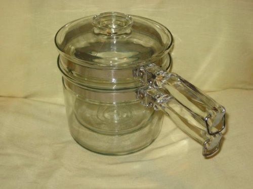 Vintage Pyrex Flameware 3 Piece - 1 1/2 Qt. Glass Double Boiler