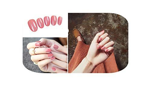 24 Pcs/ensemble Bean Sand Pure Color Design Fini Faux s Taille Courte Lady Filles Pleine Presse sur s Conseils Patch Art Outil Mariée-F31-