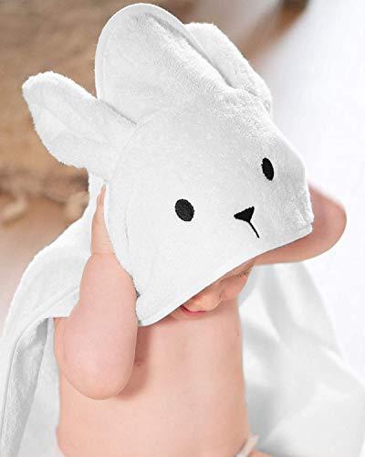 Toalla con capucha 100% algodón unisex para recién nacido recién nacido, 450GSM, tamaño 70 x 70 cm, ideal para regalo de Navidad blanco blanco