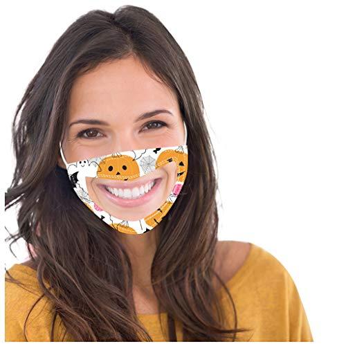 SHUANGA Halloween Männer und Frauen Anti-Verschmutzung Anti-Spritzer Erwachsenen Gesichtsschutz Wiederverwendbare Anti-Fog Anti Staub Atemschutz transparent Face Cover Design für Taubstumm