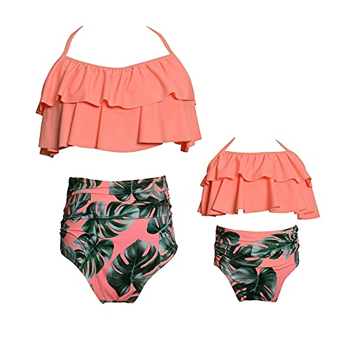 Bonfor Bikini Niña 2-12 años & Bikinis Mujer 2021 Brasileños Braga Alta Marca Volantes - Ropa de Baño Madre e Hija, Tajes de Baño de Dos Piezas (Rosa~a, M)