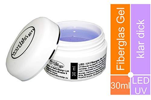 30 ml World of Nails-Design LED/UV-Fiberglas Gel klar dickviskose mit Sunblocker als 1 Phasengel, Aufbaugel, Qualität vom Fachhändler