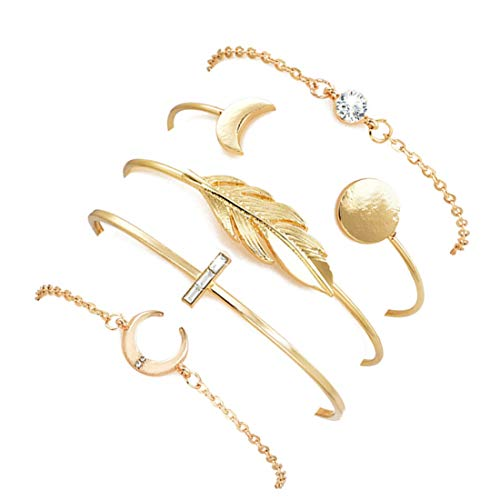 YooAi 5 Pcs Leaf Moon Bracelets Open Cuff Bangle Set for Women G