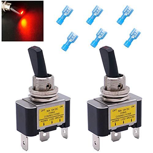 Taiss Interruptor basculante iluminado ASW-07D-2-R-DZ (2 unidades, 30 A, 12 V CC, SPST, encendido/apagado, 3 pines, con luz LED roja)