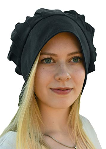 Battle-Merchant Mittelalter Haube mit gelegten Falten für Damen - Damenhaube - Mittelalterhaube - Kopfbedeckung (Schwarz)