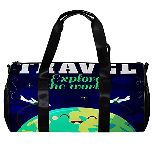 Bolsa de viaje para mujeres y hombres de dibujos animados Explorar el mundo de los deportes del avión del gimnasio bolsa de viaje de fin de semana para la noche al aire libre bolso de equipaje