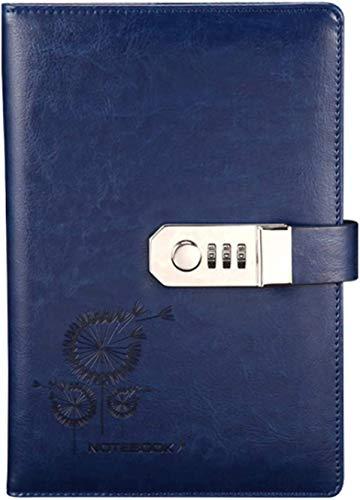 Wohlstand Cuaderno de Cuero Cuaderno para Escribir en Diario 100 Hojas Diario Planificado Organizador Vintage de Cuero PU con Cerradura de Combinación Ranuras para Tarjetas Portaplumas(212x147mm),azul