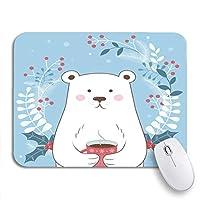 NINEHASA 可愛いマウスパッド アニマルハッピーウィンターホリデータイムホッキョクグマブルーノンスリップゴムバッキングマウスパッドノートブックコンピューターマウスマット