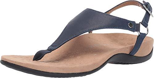 VIONIC Kirra Metallic Navy, Blau - Elegante Sandale- Damenschuhe Pantolette/Zehentrenner, Blau, Leder, absatzhöhe: 15 mm
