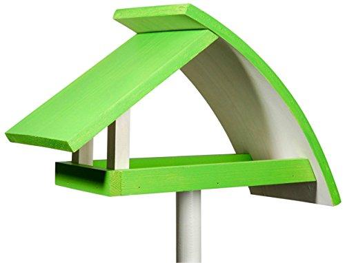 """Luxus-Vogelhaus 31014e Design Vogelhaus """"New Wave"""" aus Holz (Kiefer) für Garten, Balkon, mit Ständer, Schrägdach, Farbe: weiߟ-grün - Vogelhäuschen Vogel-Futterhaus"""