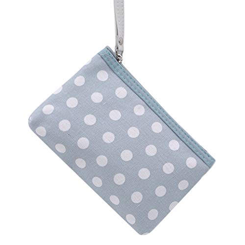 GOMYIE Portable Dot Pattern Toiletry Bag Travel Cosmetic Storage Bag for Women (Sky Blue)
