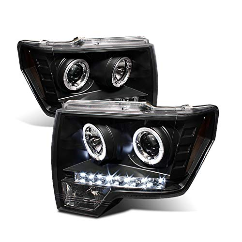 For Ford F150 F-150 Pickup Black Bezel Dual Halo LED Projector Headlights Front Lamps Replacement