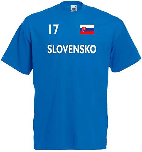 World of Shirt Herren T-Shirt Slowakei/Slovensko Trikot 1-