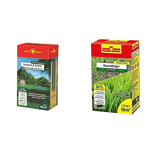 WOLF-Garten - Premium-Rasen »Schatten & Sonne« LP100 ; 3820040 & Rasen-Starter-Dünger LH 50; 3833020