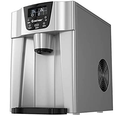COSTWAY 2 in 1 Countertop Ice Maker with Built-in Water Dispenser, Produces 36 lbs Ice in 24 Hours, Ready in 6 Mins, with LCD Control Panel, Portable Ice Cube Machine for Home, Bar, Party (Silver)
