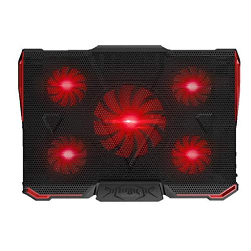 BORE Gaming Notebook Cooler 12-17 Inches Laptop Cooler Cooling Pad Dual USB 2.0 Ports, Portable 4 Angle Adjustable (Color : Black-Red)