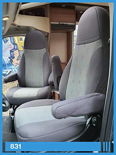Maß Sitzbezüge kompatibel mit Wohnmobil Fahrer & Beifahrer Farbnummer: 831 (grau grau)