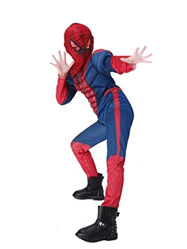 CXYGZLJ Kinder Spider-Man Deluxe Kostüm Muskel-Brust-Outfit mit roter Augenmaske, Kinder-Muskel-Bekleidung Superheld-Film-Prop-Kostüm Fancy-Kleid-Party After (S-L),Kid M 120~130cm