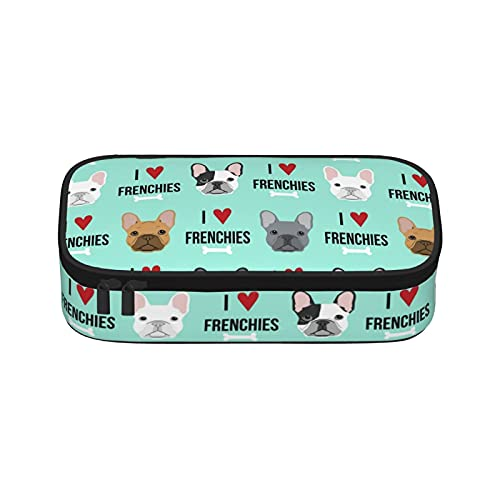 French Bulldog Pencil Pen Case Big Capacity with Zipper Stationery Bag Large Storage Makeup Bag for Office