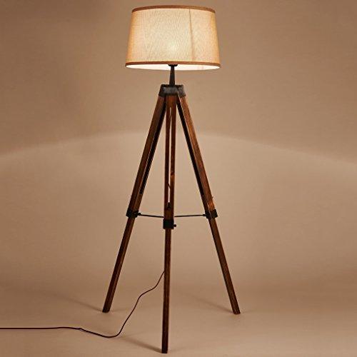 Ywyun Lampadaire trépied rétractable en bois massif japonais, lampe de table décorative américaine salon chambre à coucher créative chambre verticale LED