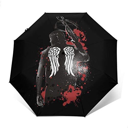 Walking Dead Daryl Dixon Flügel und Armbrust Winddicht, kompakt, automatisch, faltbar, Reise-Sonnenschirm