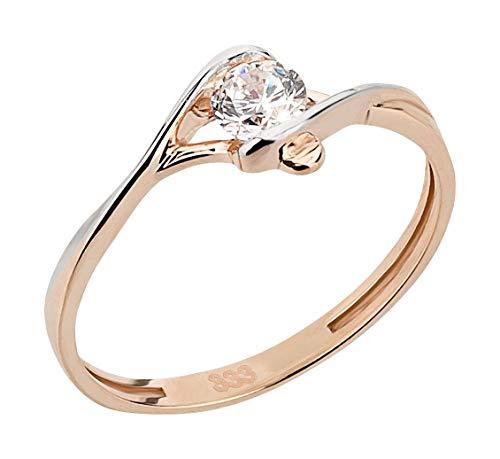 Ardeo Aurum Damenring aus 333 Gold bicolor Weißgold Rosegold mit Zirkonia im Brillant-Schliff Spannfassung Verlobungsring Solitär-Ring