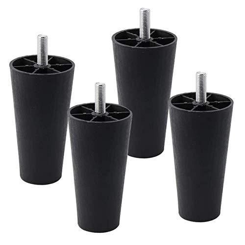 Gambe di ricambio per mobili, gambe di ricambio, gambe in plastica spessa nera, gambe per tavolo e sedie, gambe per tavolo, gambe per mobili, gambe per tavoli, gambe per tavoli, altezza 10 cm