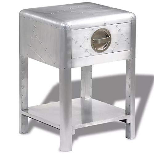 vidaXL Aluminum Aviator Side Coffee Table Nightstand Telephone Stand 1 Drawer