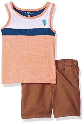 U.S. Polo Assn. Baby Boys Tank and Short Set, Aqua Logo Khaki...