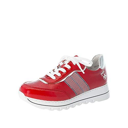 Rieker L3317 - Zapatillas de mujer con cordones, color Rojo, talla 36 EU