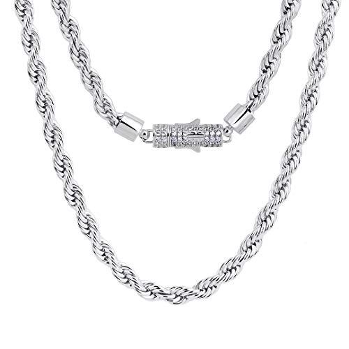 KRKC&CO 6mm Kordelkette Weißgold beschichtet Rope Halskette mit Iced Out Verschluss Rope Ketten Damen Silber Halskette Herren Kette Hip Hop Halskette für Herren Größe 51 56 61 cm